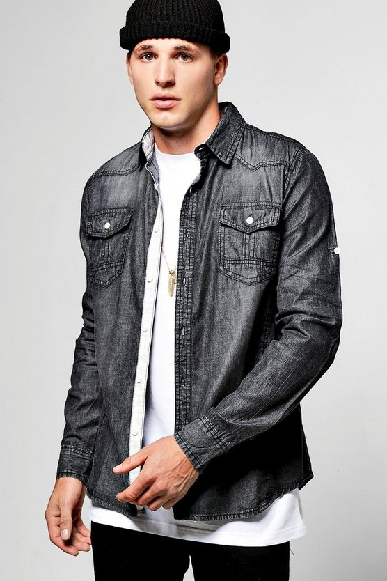 Washed Long Sleeve Denim Shirt