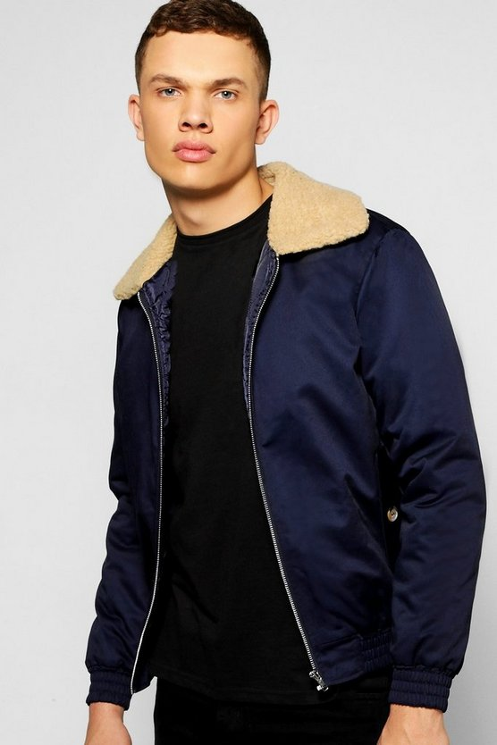 Padded Harrington Jacket with Borg Collar