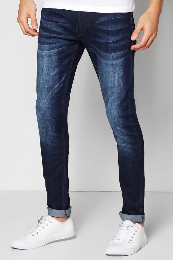 Mens Indigo Skinny Stretch Mid Wash Jeans