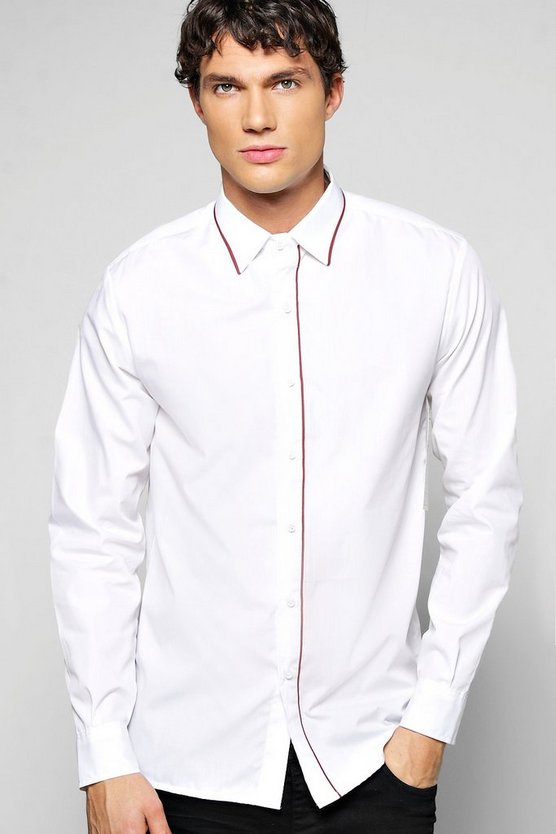 Contrast Trim Slim Fit Shirt