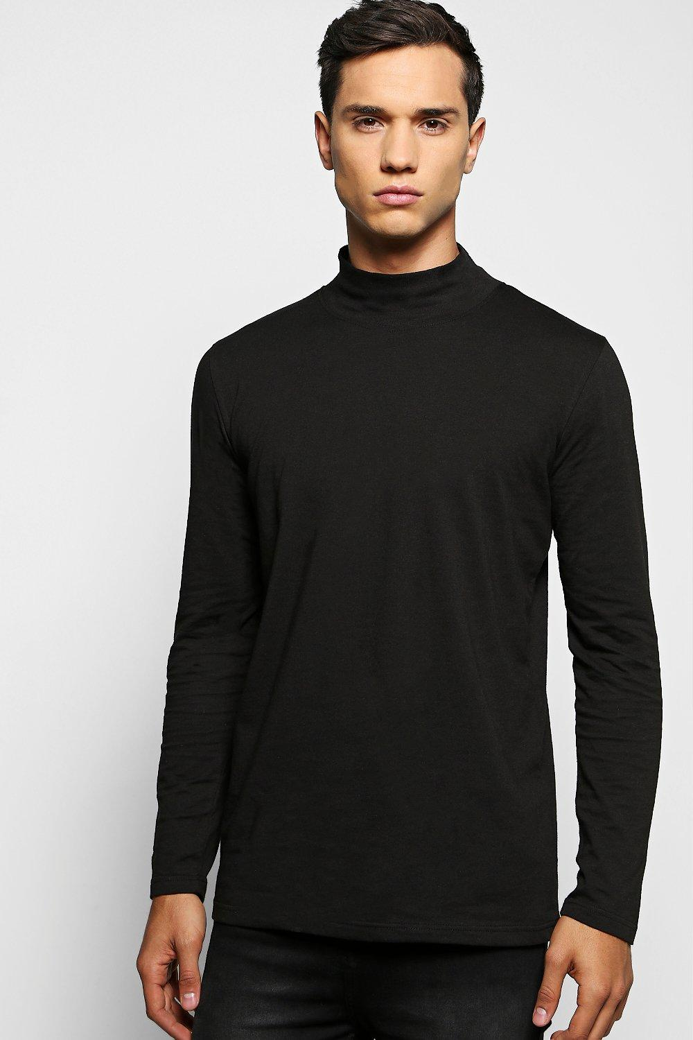 290c2cc736d9d9 Mens Black Long Sleeve High Neck T Shirt. Hover to zoom