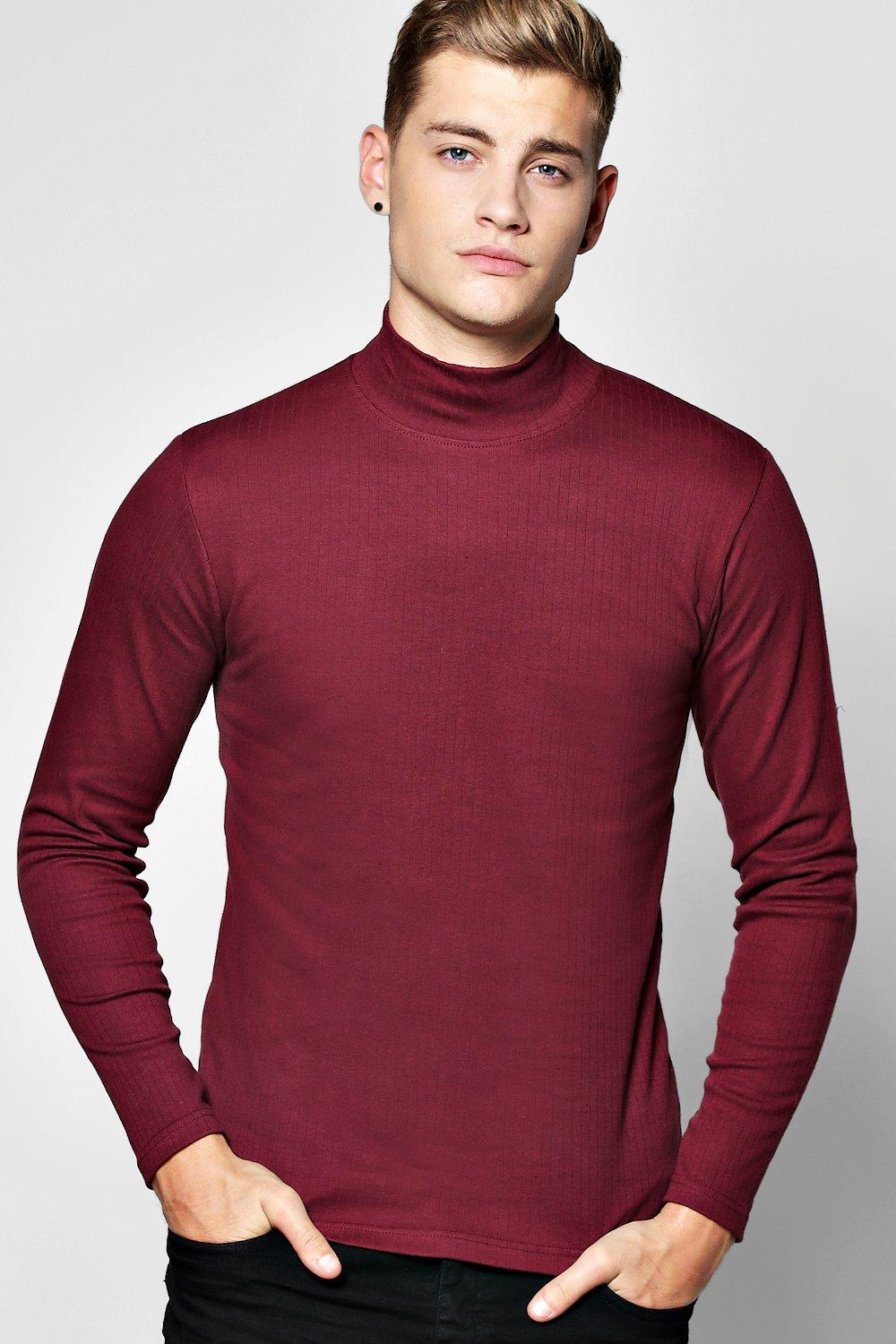 2b21a81157fadc Mens Wine Long Sleeve Muscle Fit Ribbed High Neck T Shirt. Hover to zoom