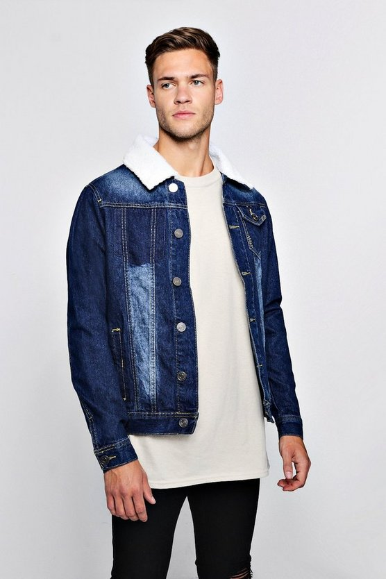 Mens Indigo Borg Collar Denim Jacket