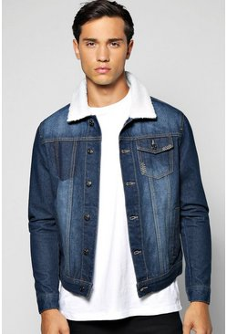 Mens Indigo Denim Jacket With Borg Collar