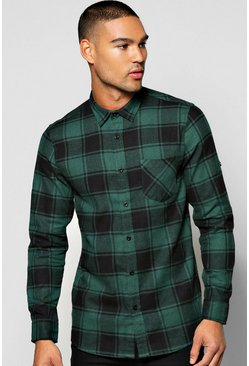 Herr Khaki Long Sleeve Buffalo Brushed Check Shirt
