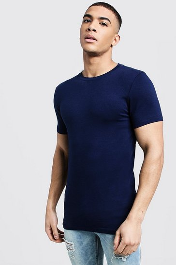 Mens Navy Muscle Fit Crew Neck T Shirt