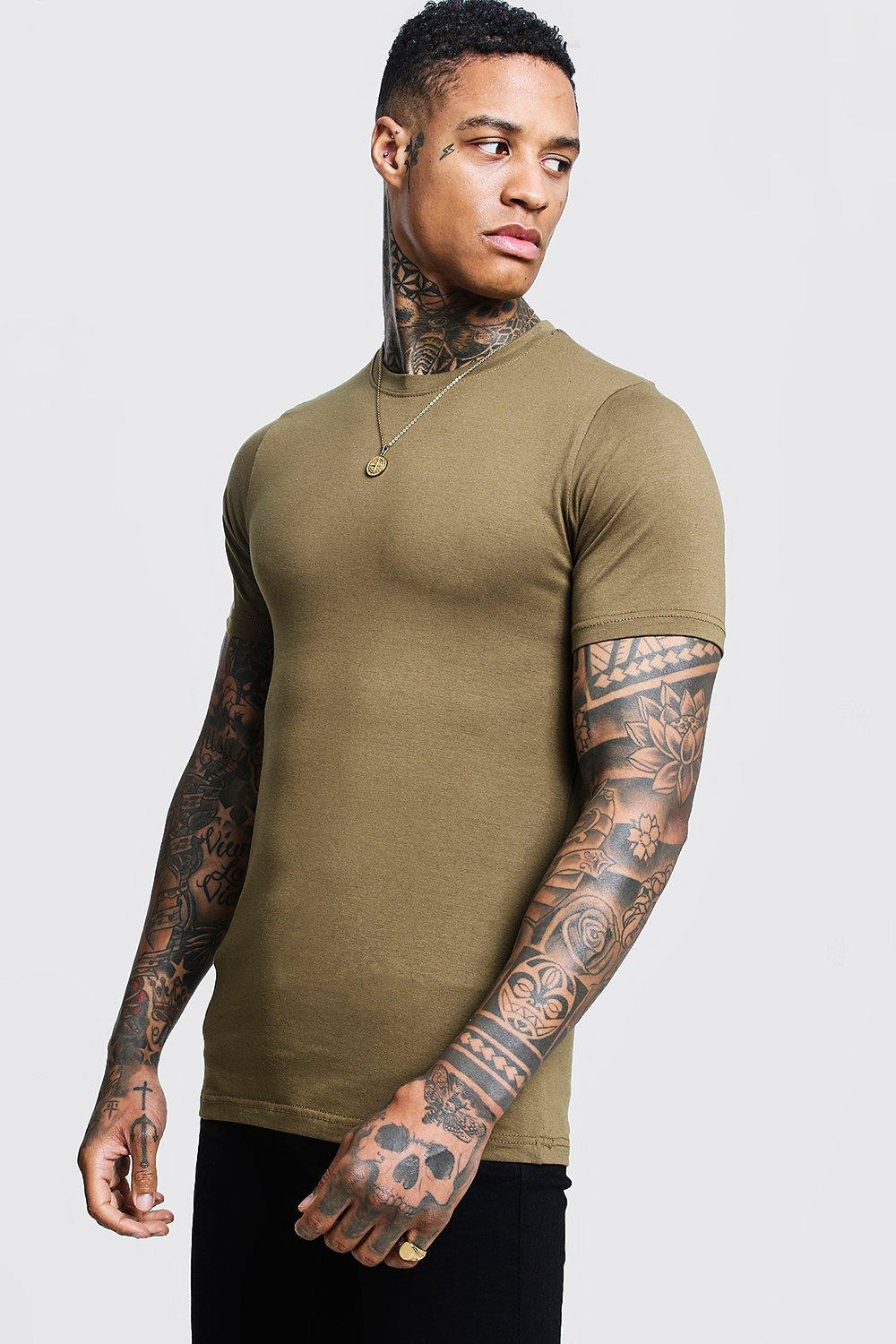 Boohoo Mens Muscle Fit Crew Neck T Shirt Ebay