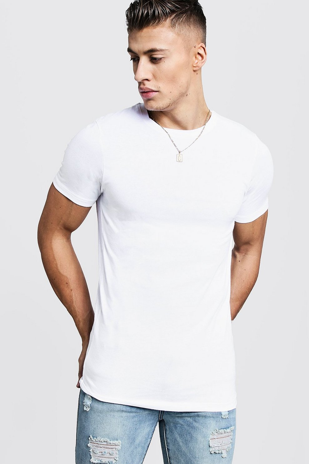 542a616c Mens White Muscle Fit Crew Neck T Shirt