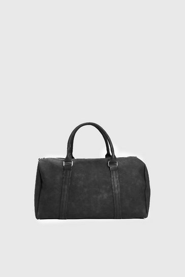 Mens Black PU Weekend Holdall with Zips