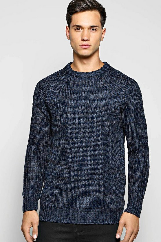 Heavy Knit Mixed Yarn Crew Neck Jumper