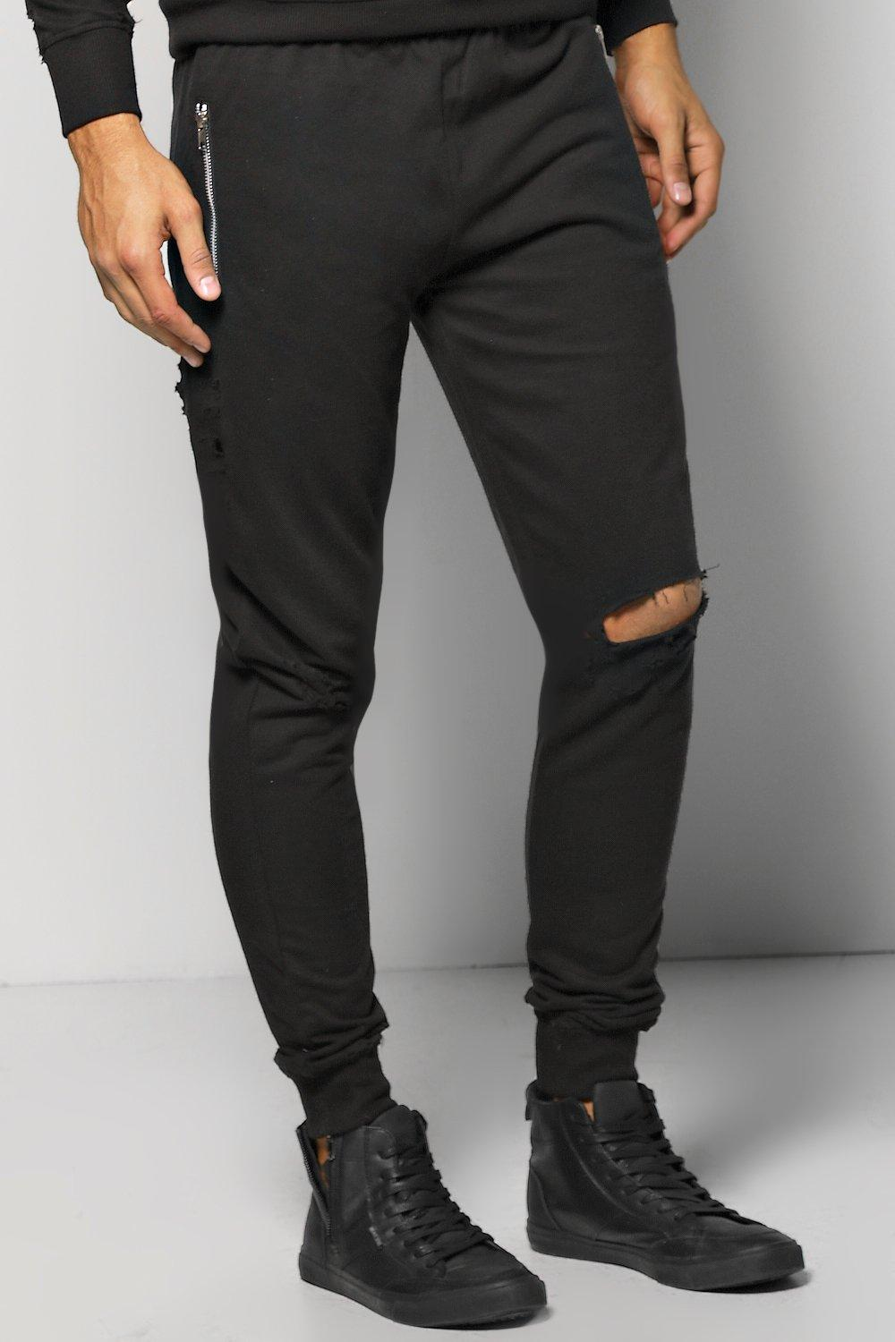 d696df20 Skinny Fit Distressed Joggers With Zip Pockets | Boohoo