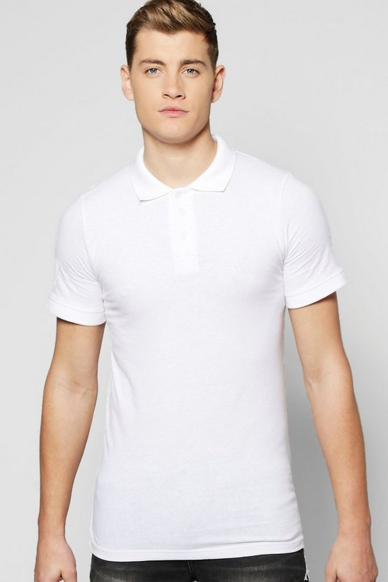 White Short Sleeve Muscle Fit Polo
