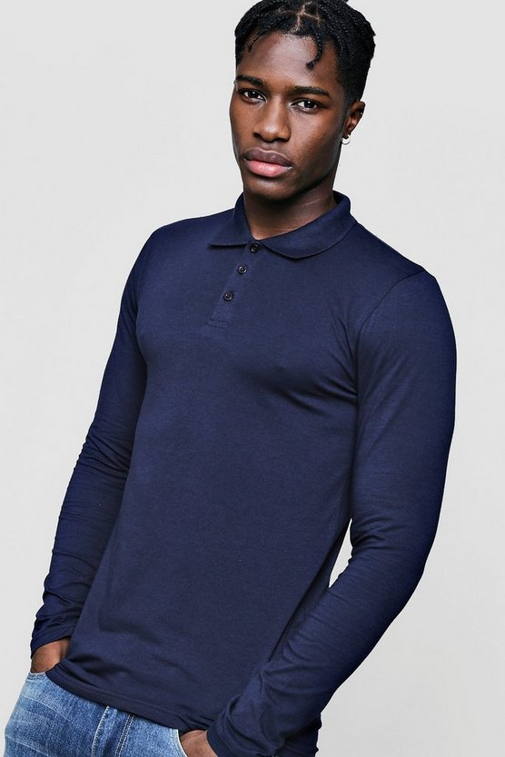 Mens Navy Long Sleeve Muscle Fit Polo