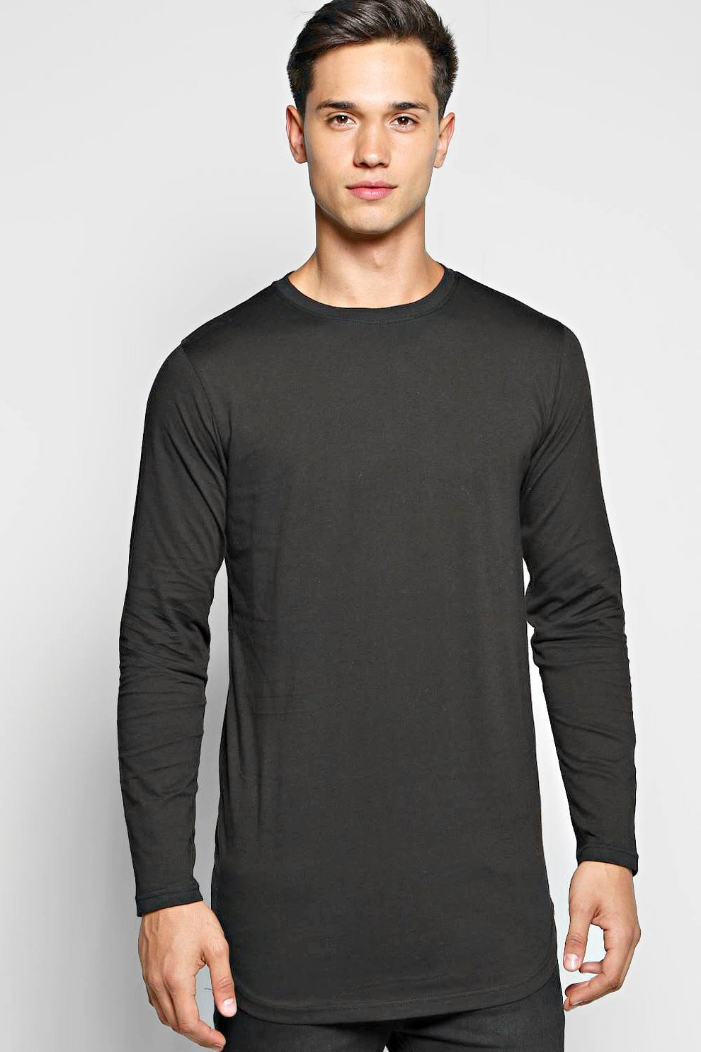 4c3df5f4b Mens Black Long Sleeve Longline T Shirt with Scoop Hem. Hover to zoom