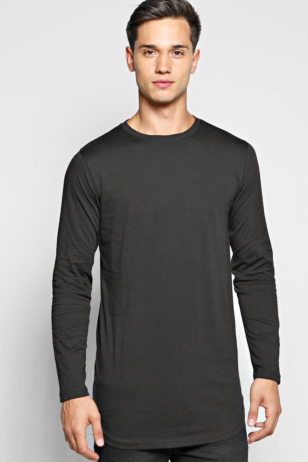 a3acca526 Mens Black Long Sleeve Longline T Shirt with Scoop Hem. Hover to zoom