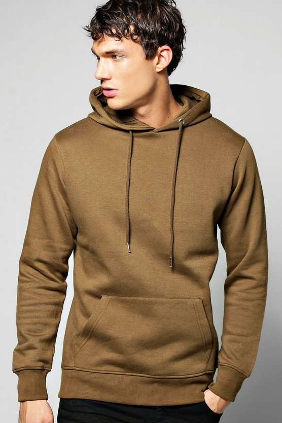 Mens Olive Lightweight Basic Over the Head Hoodie