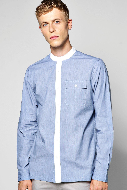 1960s Menswear Clothing & Fashion Ideas Contrast Collar Long Sleeve Grandad Shirt $16.00 AT vintagedancer.com