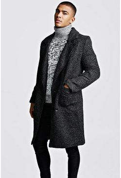 Black Textured 3/4 Smart Lined Overcoat
