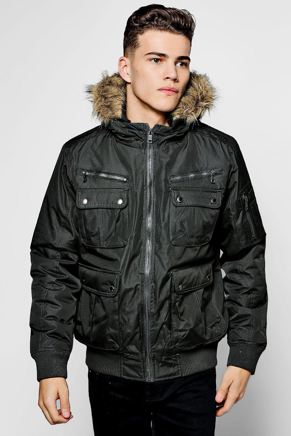 Boohoo Mens Short Parka With Faux Fur Lined Hood | eBay