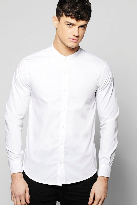 Mens White Grandad Collar Shirt With Curve Hem And Zip Detail