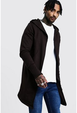 Mens Mocha Longline Hooded Cardigan With Extended Cuff