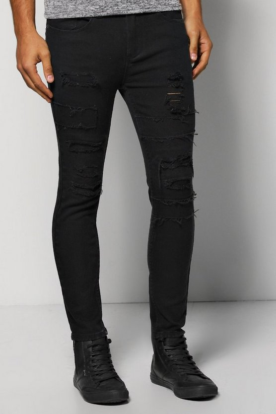 Skinny Fit Jeans With Patchwork Rip And Repair