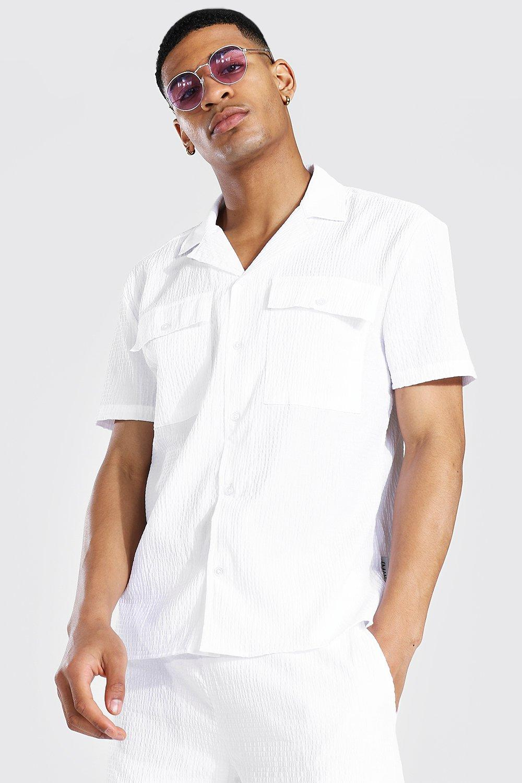 1950s Mens Shirts | Retro Bowling Shirts, Vintage Hawaiian Shirts Mens Short Sleeve Revere Collar Seersucker Shirt Set - White $18.00 AT vintagedancer.com