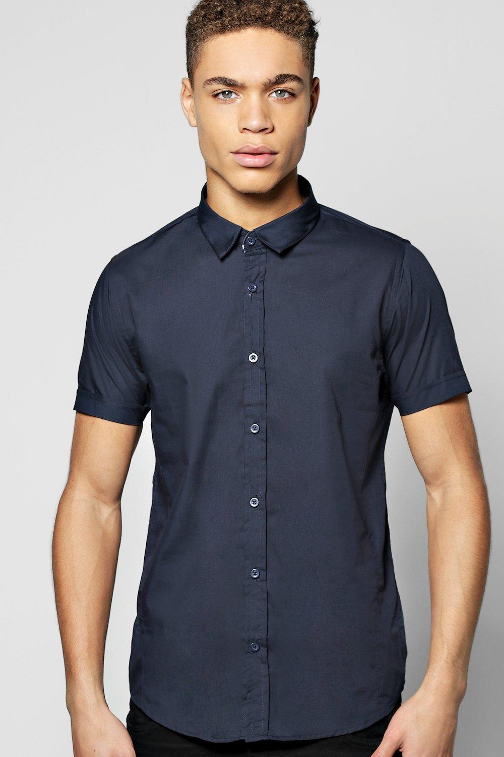 Boohoo mens slim fit short sleeve smart shirt ebay for Mens slim fit short sleeve shirt