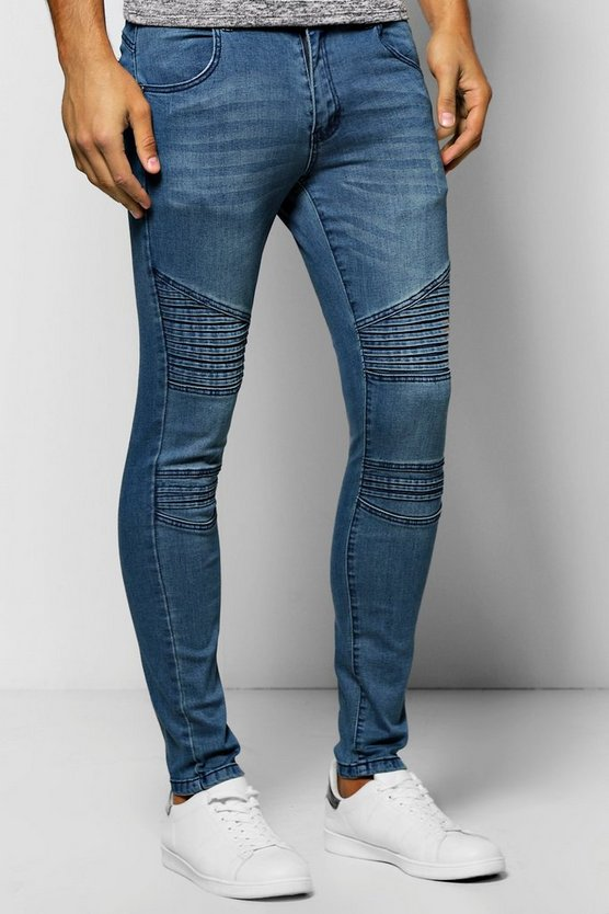 Mid Blue Skinny Fit Jeans with Biker Detail
