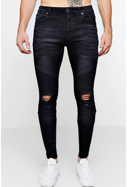 Mens Washed Black Biker Detail Skinny Fit Jeans