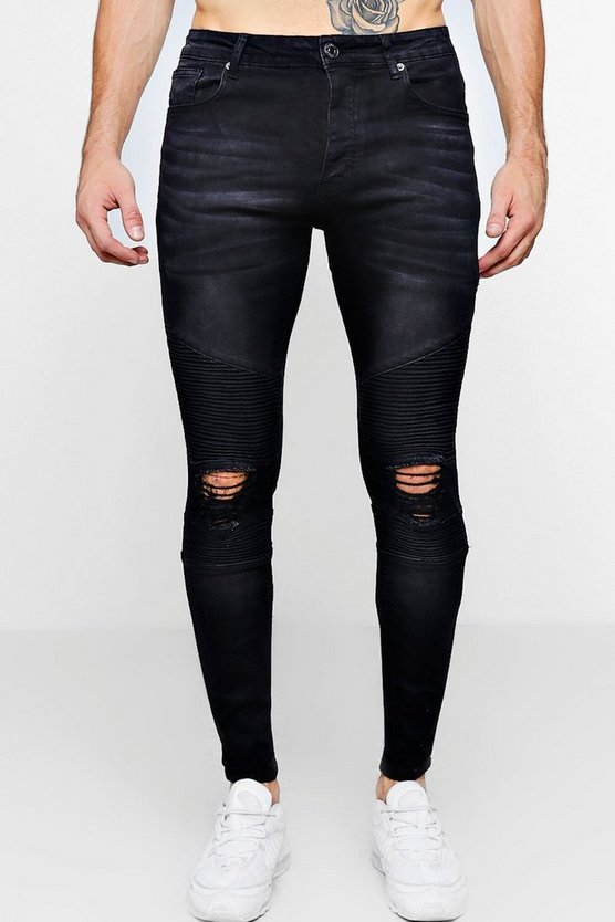 Mens Washed black Washed Black Biker Detail Skinny Fit Jeans