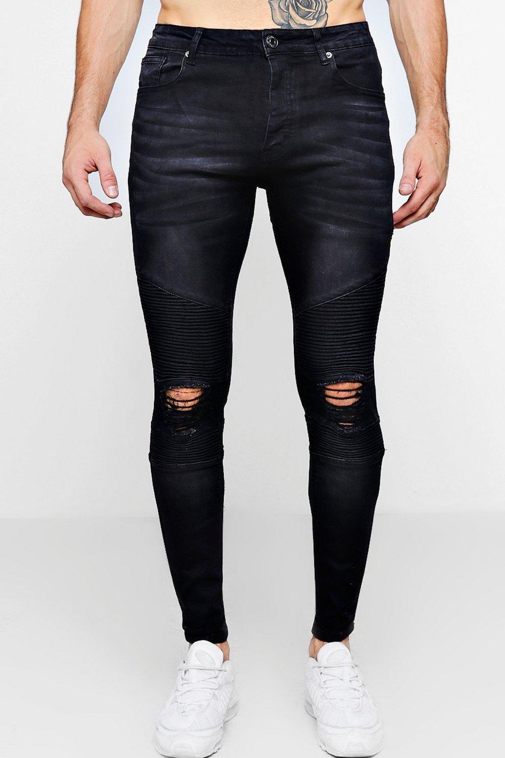 0f340c2f91 Mens Washed Black Biker Detail Skinny Fit Jeans. Hover to zoom