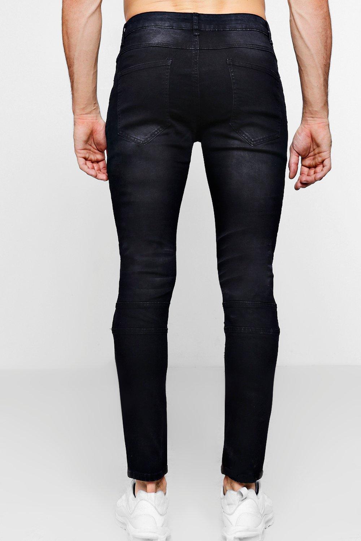 con Jeans biker desteñido negros detalle negro lavados skinny super WUx4nUv
