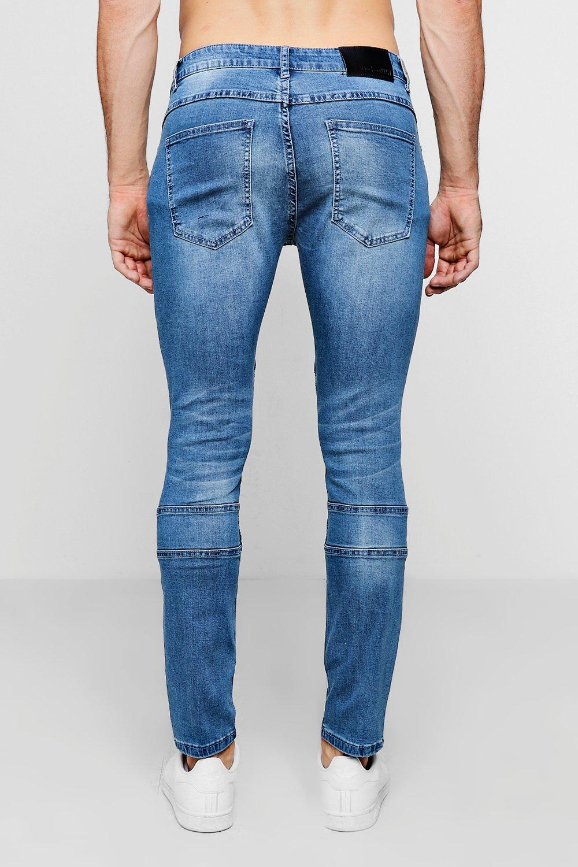 biker azul medio medio Jeans skinny color Azul con detalle q7BBYw