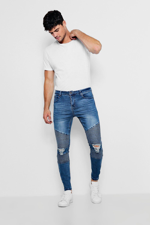 detalle Jeans medio skinny medio azul con Azul color biker rwrdHxX