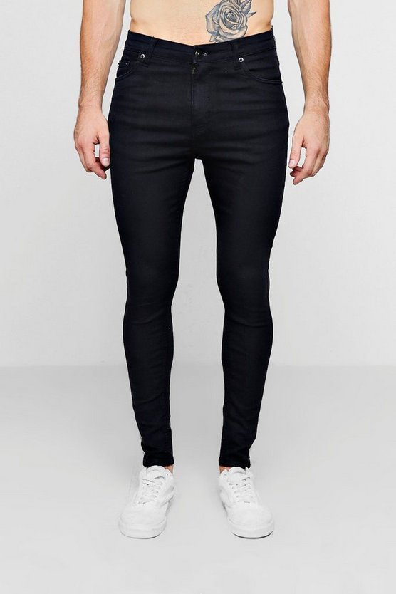 Mens Black Black Spray On Skinny Jeans