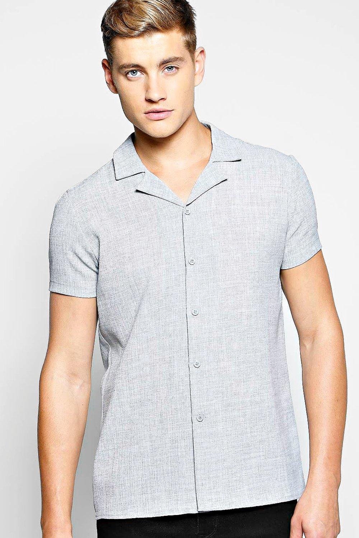 eccaed26dcfaa Linen Look Revere Collar Shirt. Hover to zoom
