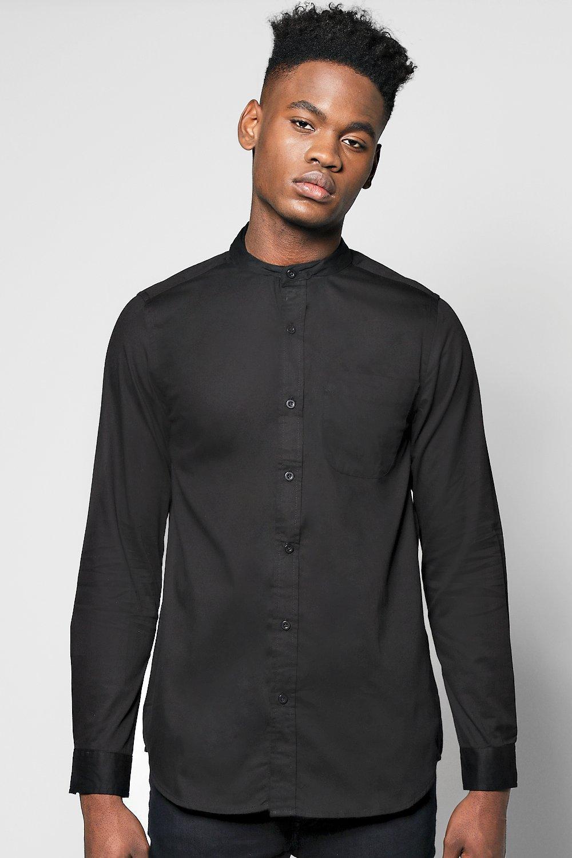 94d81e191c1a55 PU Contrast Collar Grandad Shirt - boohooMAN