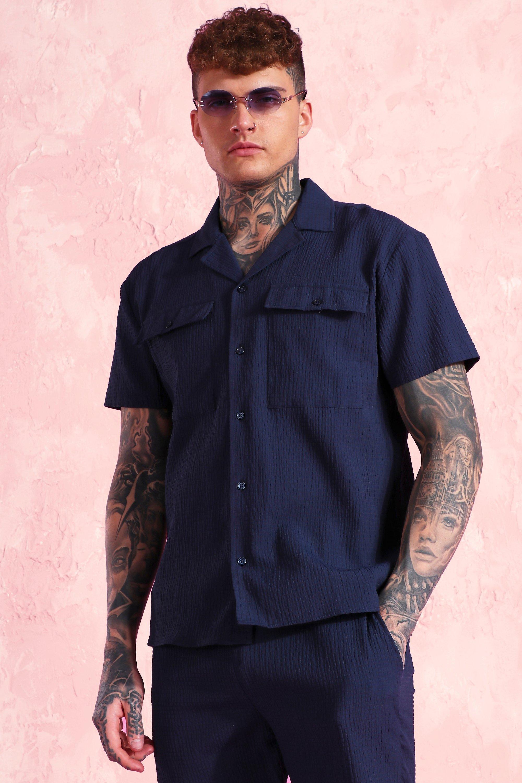 1950s Mens Shirts | Retro Bowling Shirts, Vintage Hawaiian Shirts Mens Short Sleeve Revere Collar Seersucker Shirt - Navy $15.00 AT vintagedancer.com