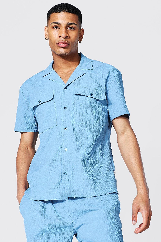 1950s Mens Shirts | Retro Bowling Shirts, Vintage Hawaiian Shirts Mens Short Sleeve Revere Collar Seersucker Shirt - Blue $15.00 AT vintagedancer.com