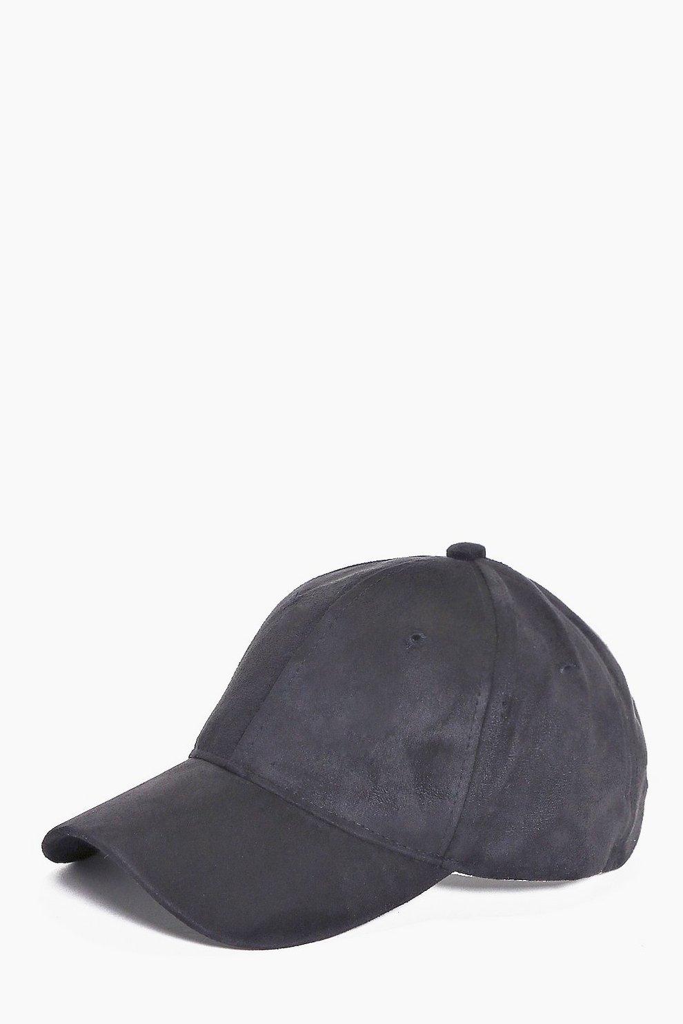 284469c14a3 Black Faux Suede Baseball Cap