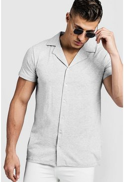 camicia a maniche corte in jersey con colletto risvoltato, Grey, Maschio