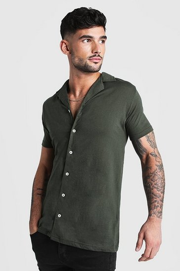 Khaki Short Sleeve Revere Collar Jersey Shirt