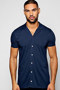 1940s Style Mens Shirts Short Sleeve Revere Collar Jersey Shirt $23.00 AT vintagedancer.com