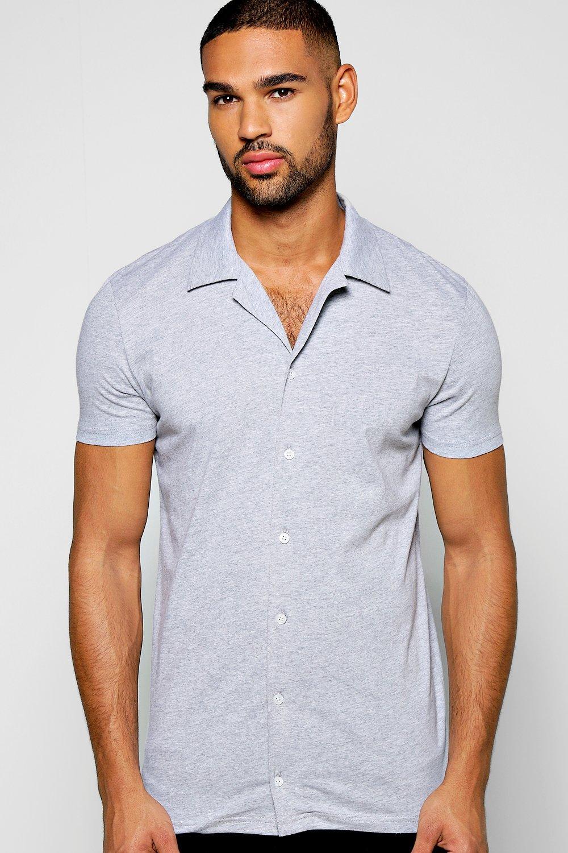 aaabdbb4031ae0 Short Sleeve Revere Collar Jersey Shirt