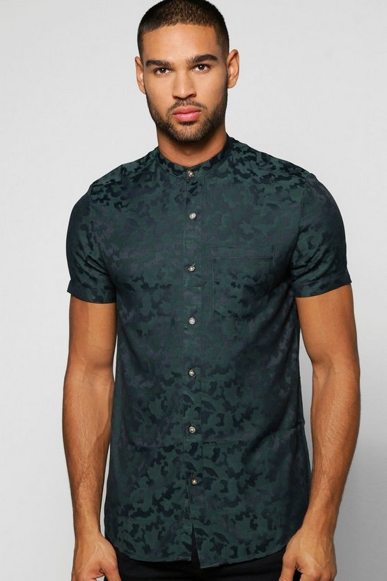 Mens Green Short Sleeve Camo Jacquard Woven Shirt