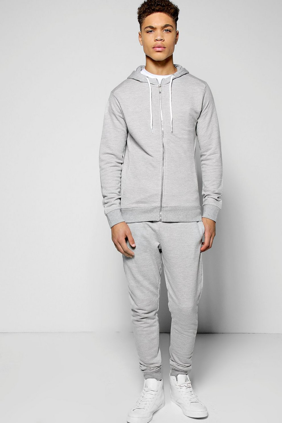 2bc431bacb2f Skinny Fit Textured Tracksuit | Boohoo