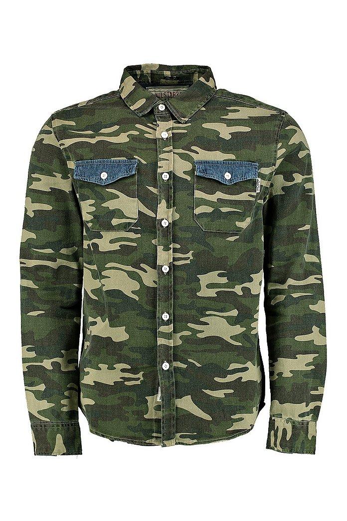 Langärmeliges 2 Mit Und Camouflage Taschen Hemd Design l1TFK3Jc