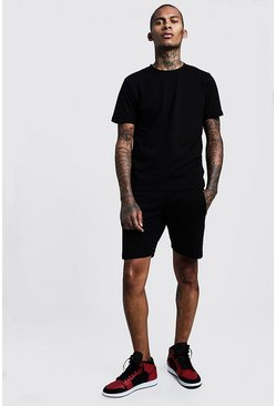 Mens Black Short Pique Tracksuit