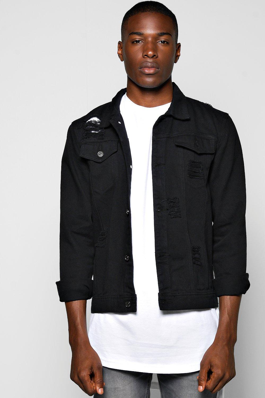 168c4aa5c1a1 Black Denim Jacket with Abrasions | Boohoo